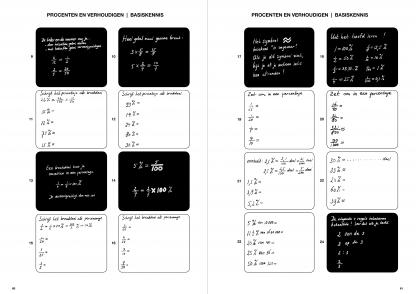 """Procenten en verhoudingen, inleidende vragen met zwarte """"leer-kaartjes"""""""